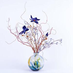 Zijden bloemstuk in Fidrio vaas - middel