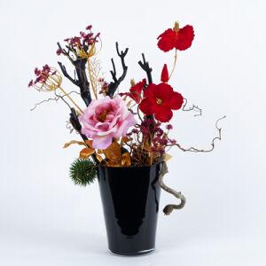 Zijden bloemstuk zwarte vaas middel