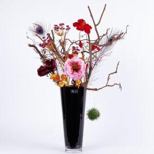 Zijden bloemstuk zwarte vaas groot